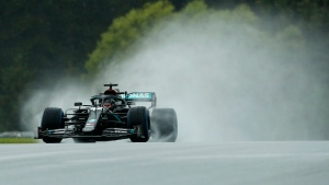 Mercedes driver Lewis Hamilton of Britain steers his car during the qualifying session for the Styrian Formula One Grand Prix at the Red Bull Ring racetrack in Spielberg, Austria, July 11, 2020. (AP Photo/Darko Bandic, Pool)