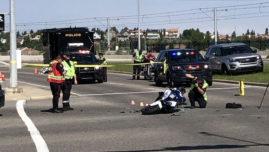 calgary, police, ems, sarcee trail, motorcycle