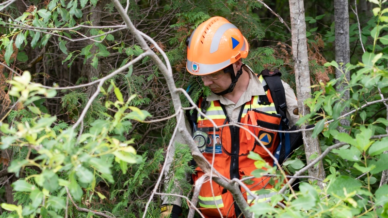 Volunteer Martin Simard searches the woods, Friday, July 10, 2020 in Saint-Apollinaire, Que. Police are continuing their search around a Quebec City suburb after they issued an Amber Alert Thursday for two young girls and their 44-year-old father who investigators believe disappeared following a highway car crash. THE CANADIAN PRESS/Jacques Boissinot