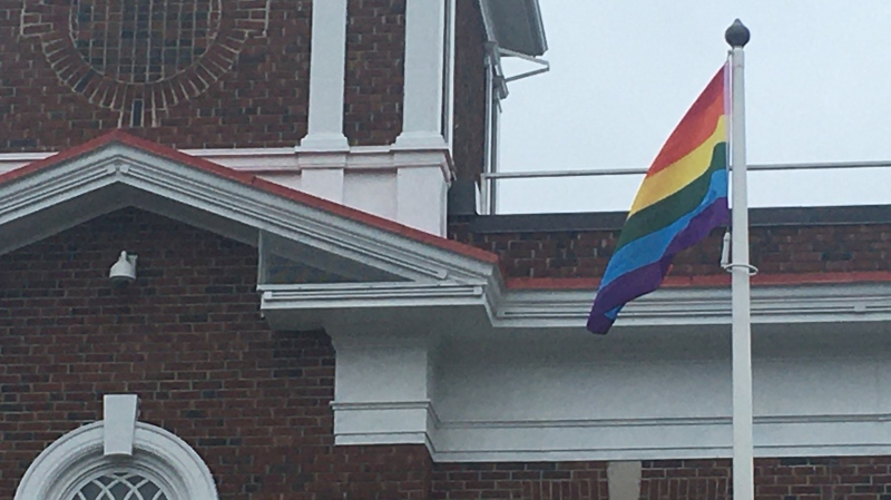 Pride flag flies at City Hall on Frank St. in Strathroy (Brent Lale / CTV News)