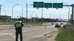 A cyclist and a car were involved in a collision on Saturday. (Galen McDougall/CTV News Edmonton)