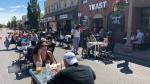 Patrons enjoying first weekend of Erie Street closure on Saturday, July 11, 2020 (Alana Hadadean/CTV News )