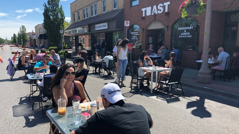Patrons enjoying first weekend of Erie Street closure on Saturday, July 11, 2020 (Alana Hadadean/CTV News )