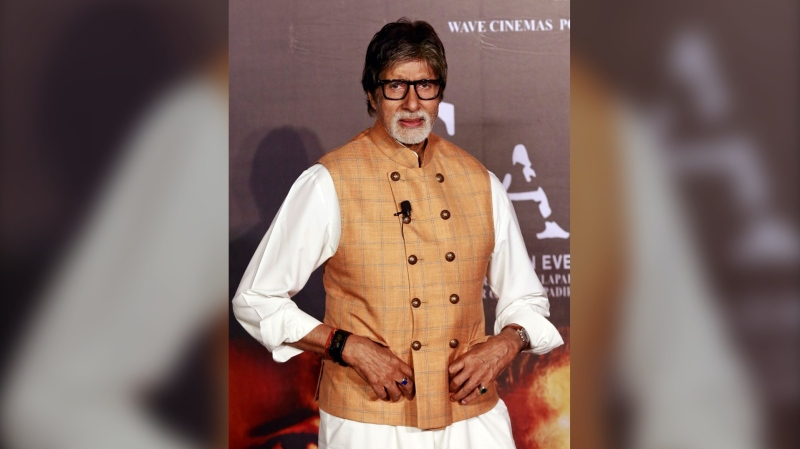 "Bollywood star Amitabh Bachchan poses during the launch of ""Sarkar 3"" in Mumbai in March 2017. Bachchan has been hospitalized after testing positive for coronavirus, according to his official Twitter account. (Rafiq Maqbool/AP)"