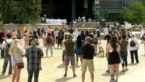 Protesters came out to rally against Bill 1 in Calgary on July 1, 2020. (CTV)