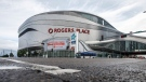 Home of the Edmonton Oilers, Rogers Place arena in Edmonton, Alta., on Thursday July 2, 2020. A plan to operate NHL game hubs in Edmonton and Toronto could draw hundreds of hockey players and staff to both Canadian cities, but business experts say their presence won't give a huge boost to local economies. THE CANADIAN PRESS/Jason Franson