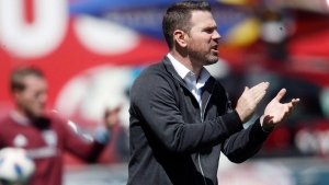 Toronto FC head coach Greg Vanney directs his team against the Colorado Rapids in the first half of an MLS soccer match in Commerce City, Colo., on April 14, 2018. The 9 a.m. kickoff is daunting enough. So is the 5:30 a.m. pre-game meal. Toronto FC gets one heck of an early start to the MLS is Back Tournament on Sunday when it faces D.C. United at ESPN's Wide World of Sports complex in the Orlando area. THE CANADIAN PRESS/AP, David Zalubowski
