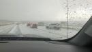 Hail rained down on drivers on the QEII Highway near Innisfail Sunday.