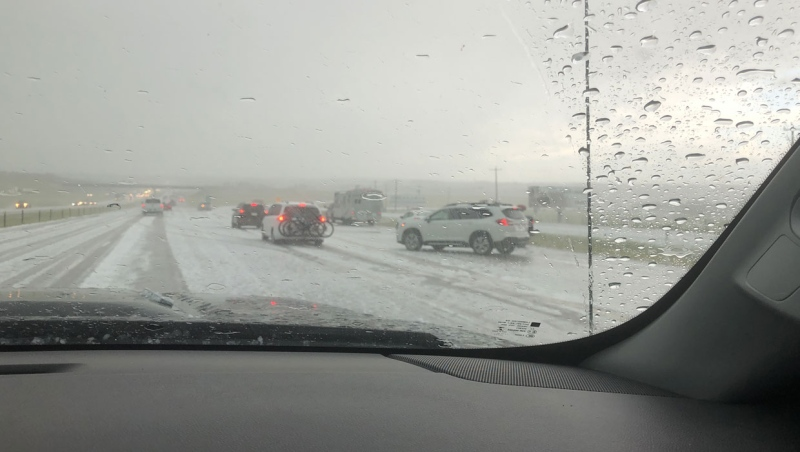 Hail rained down on drivers on the QEII Highway near Innisfail Sunday.