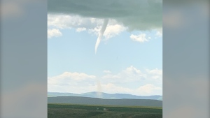 A number of people have reported this funnel cloud touched down near the town of Nanton Sunday afternoon. Environment Canada has not made an official determination.
