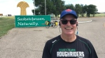 Dr. Dave Merrell is biking across the prairies to raise awareness of sleep apnea. He stopped in Saskatchewan. (Submitted/Dr. Dave Merrell)