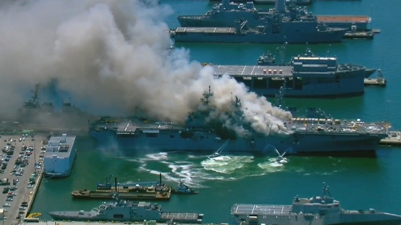 Fire erupts on U.S. military ship in San Diego