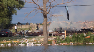Viewer @_OnLocation_ photo shows the aftermath of home explosion in Leamington on Sunday, July 12, 2020.