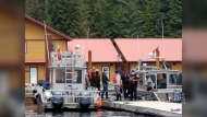 Haida matriarchs protest the reopening of fishing lodges on Haida Gwaii.