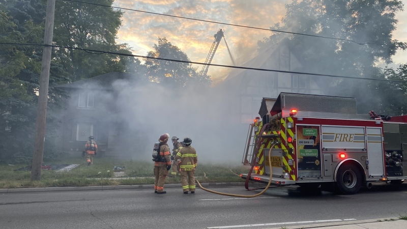 An abandoned home on Richmond Street went up in flames on Monday July 13, 2020. (Source Twitter: London Fire Department)