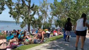 Sylvan Lake beach, crowds