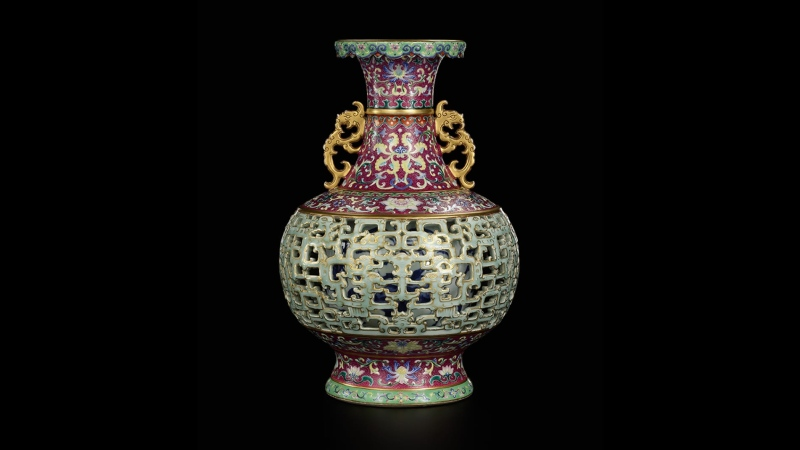 The rare vase made specifically for China's Qianlong Emperor in the early 1700s went under the hammer on Saturday, selling for 70 million Hong Kong dollars. (Sotheby's)