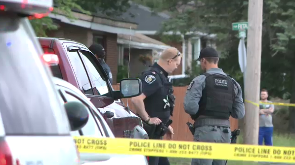 Officers at the scene of a fatal shooting in Hanmer. Jul. 13/20 (Alex Lamothe/CTV Northern Ontario)