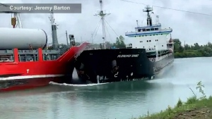 Ships collide in Ontario's Welland Canal