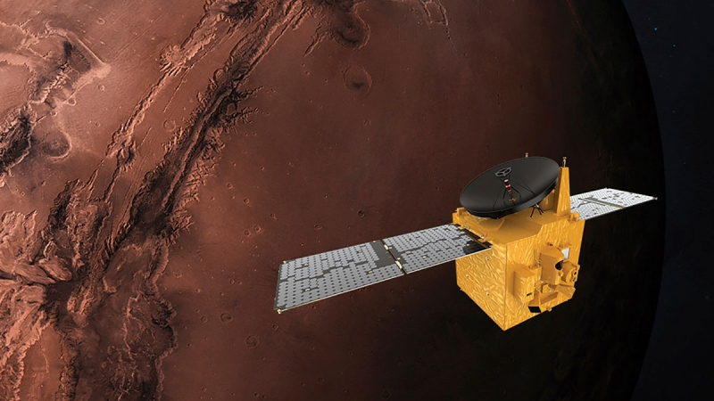 This June 1, 2020, rendering provided by Mohammed Bin Rashid Space Centre shows the Hope probe. (MBRSC via AP)