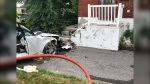 One person is being treated for severe injuries after a car was driven into a home on Carling Avenue July 13, 2020. (Photo courtesy of Ottawa Paramedic Services)
