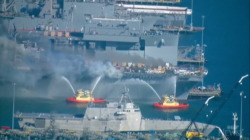 The battle against a fire that started aboard a U.S. Navy ship docked is San Diego for a routine maintenance this past weekend continues.