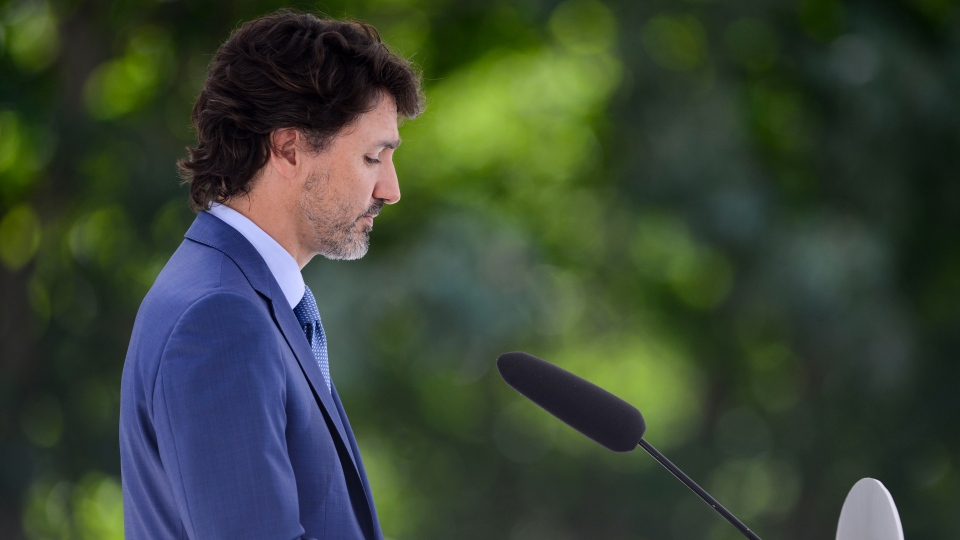 Prime Minister Justin Trudeau holds a press conference at Rideau Cottage amid the COVID-19 pandemic in Ottawa on Monday, July 13, 2020. THE CANADIAN PRESS/Sean Kilpatrick