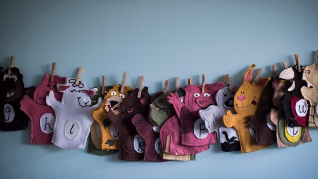 """Animal puppets are seen at a CEFA (Core Education and Fine Arts) Early Learning daycare franchise, in Langley, B.C., on May 29, 2018. Toronto-based retail distributor Sarah Pretty has had to confront myriad supply chain issues during the COVID-19 pandemic, but she calls the current school and home life situation of Canadian families an """"operational nightmare."""" THE CANADIAN PRESS/Darryl Dyck"""