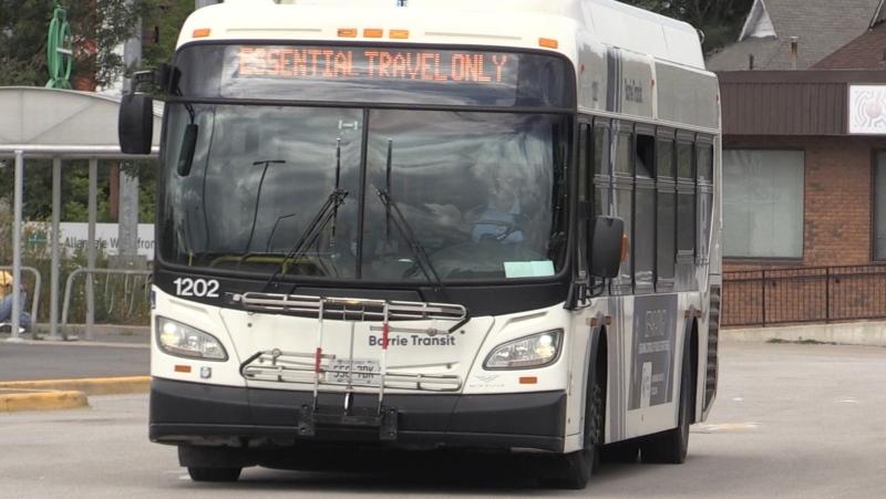 Barrie bus leaves the Allandale station in Barrie, Ont. (Siobhan Morris/CTV)