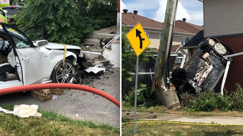 Two people were critically injured when their vehicles crashed into buildings in Ottawa on Monday. (Ottawa Paramedic Service)