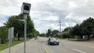 A photo radar camera outside Vincent Massey School on Smyth Road in Ottawa. (Dave Charbonneau / CTV News Ottawa)