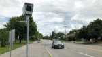 A photo radar camera outside Vincent Massey School on Smyth Road in Ottawa. (Dave Charbonneau / CTV News Ottawa)