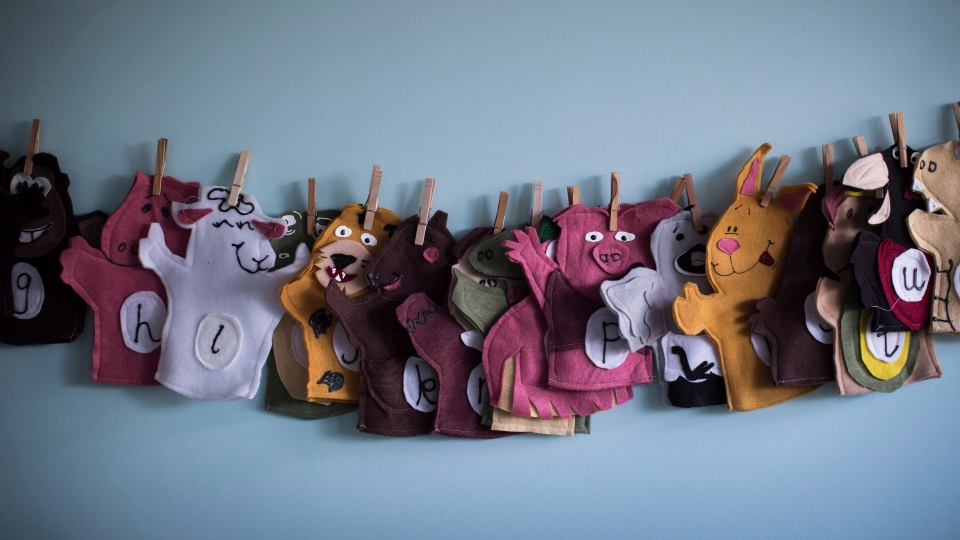 Animal puppets are seen at a CEFA (Core Education and Fine Arts) Early Learning daycare franchise, in Langley, B.C., on May 29, 2018. (THE CANADIAN PRESS / Darryl Dyck)