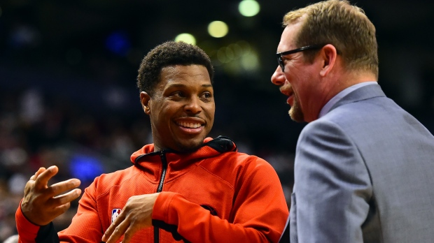 Toronto Raptors guard Kyle Lowry (7) and head coach Nick Nurse chat courtside during second half NBA basketball action against the Chicago Bulls, in Toronto on February 2, 2020.THE CANADIAN PRESS/Frank Gunn