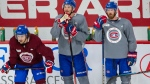 Montreal Canadiens Jordan Weal, left, Artiri Lehkonen, centre, and Paul Byron, right, take part in the first team practice Monday, July 13, 2020 in Brossard, Que. THE CANADIAN PRESS/Ryan Remiorz