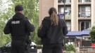 Police attend Victoria's Travelodge hotel on Saturday, July 11, 2020. (CTV News)