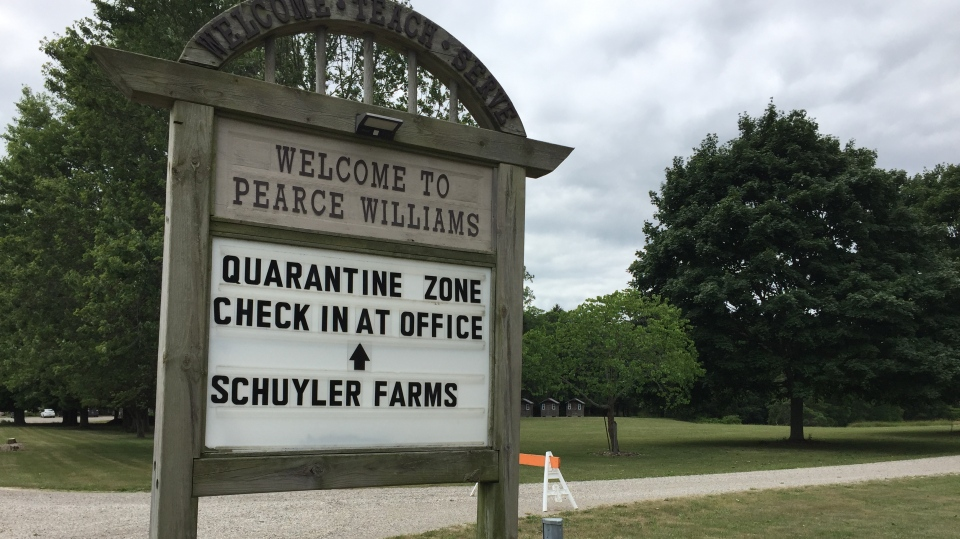 A sign welcomes those quarantining at Pearce Williams camp in Fingal, Ont. on Monday, June 13, 2020. (Bryan Bicknell / CTV News)