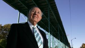 "Manuel ""Matty"" Moroun stands under at the Ambassador Bridge in Windsor, Ontario, Canada May 18, 2000.  (Max Ortiz/Detroit News via AP)"
