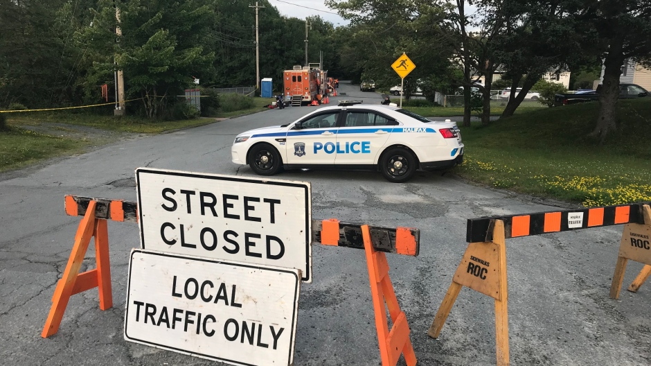 There was still a heavy police presence on Lynwood Avenue in Dartmouth on Monday where police say an 85-year-old woman was found dead on Saturday morning.  (CTV ATLANTIC / JIM KVAMMEN)