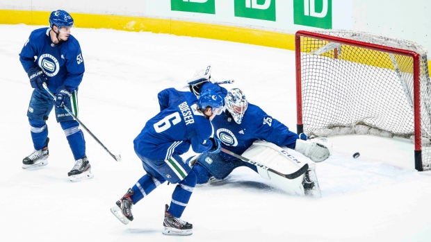 The Vancouver Canucks begin training camp on Monday, July 13, 2020 in advance of the upcoming NHL season restart. The team will be playing the Minnesota Wild in a best-of-five play-in round. For most of the young Canucks, it will be their first taste of the playoffs. (Anil Sharma)