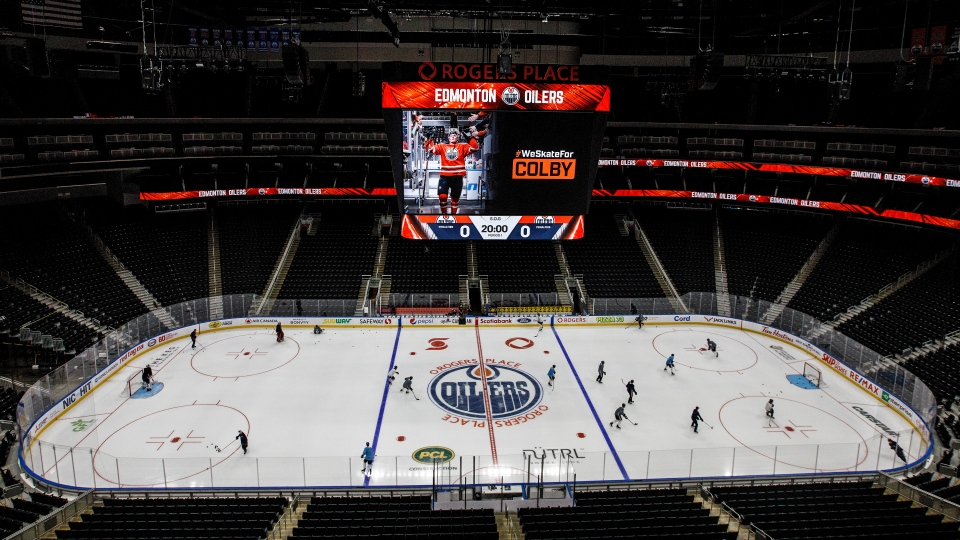 Edmonton Oilers players take to the ice for training camp in Edmonton on Monday, July 13, 2020. THE CANADIAN PRESS/Jason Franson