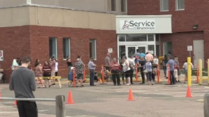 There were no new cases of COVID-19 in New Brunswick for the fourth straight day on Monday but there were long lineup at some Service NB locations that reopened.
