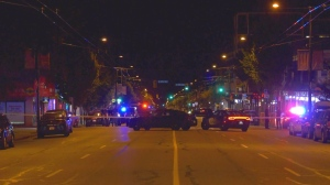Police blocked a section of Main Street in Vancouver overnight on July 13, 2020.