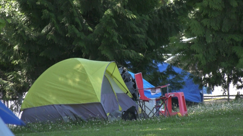 Tents seen in a Vancouver park.