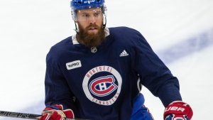 Montreal Canadiens captain Shea Weber skates during the first team practice Monday, July 13, 2020 in Brossard, Que. THE CANADIAN PRESS/Ryan Remiorz