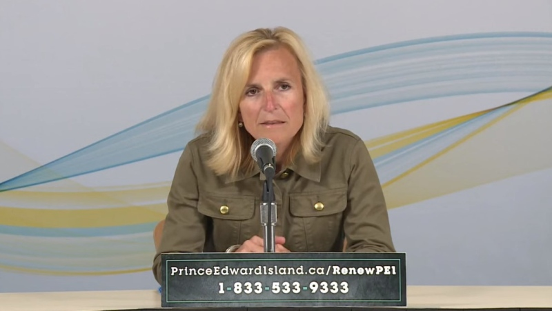 Dr. Heather Morrison, Prince Edward Island's chief medical officer of health, provides an update on COVID-19 during a news conference on July 14, 2020. (YouTube)