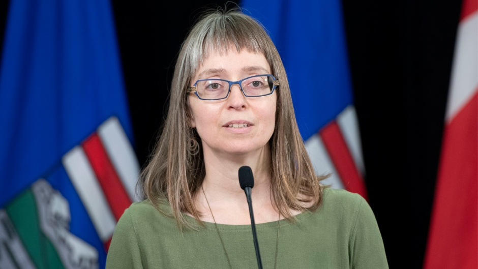 Dr. Deena Hinshaw, Alberta's chief medical officer of health, gives a COVID-19 update on Monday, July 13, 2020. (Chris Schwarz/Government of Alberta)