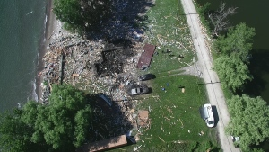 An aerial image of a house explosion that claimed the lives of two people in Marentette Beach in Leamington, Ont. (source: Ontario Fire Marshal)