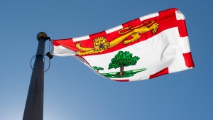 Prince Edward Island's provincial flag flies on a flag pole in Ottawa, Monday, July 6, 2020. (THE CANADIAN PRESS/Adrian Wyld)