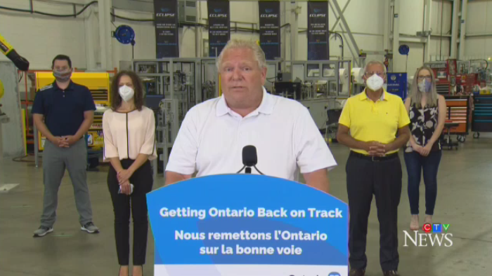 Doug Ford behind a podium